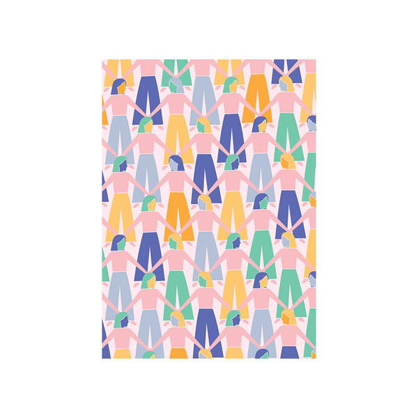 Iko Iko Abstract Card Hand in Hand Blue Pink Yellow Green