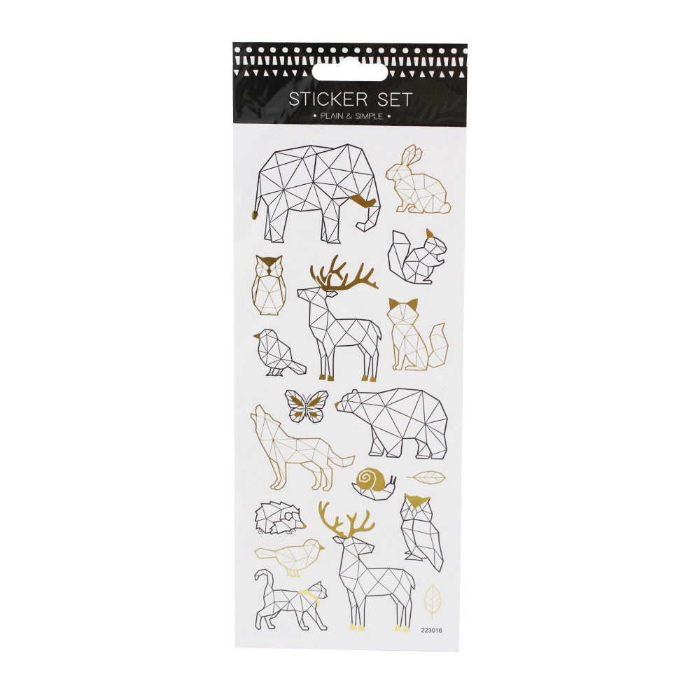 Metallic Geometric Animal Stickers