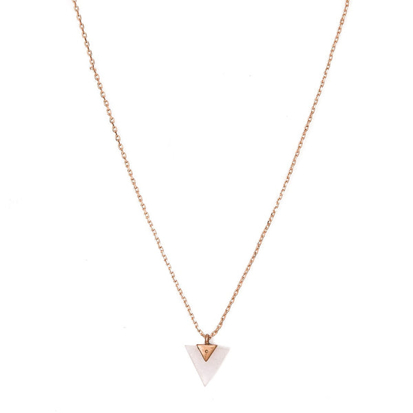 Stella + Gemma Necklace Triangle Rose Quartz Rose Gold