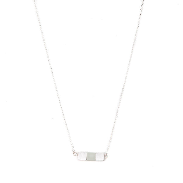 Stella + Gemma Necklace Three Cube Row Jade Silver