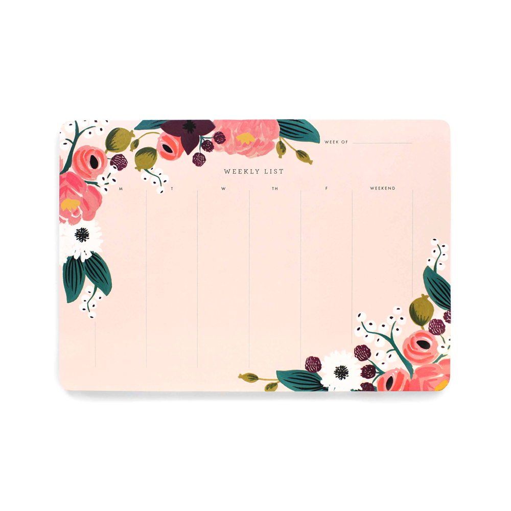 Rifle Paper Co Weekly Desk Pad Pink Floral