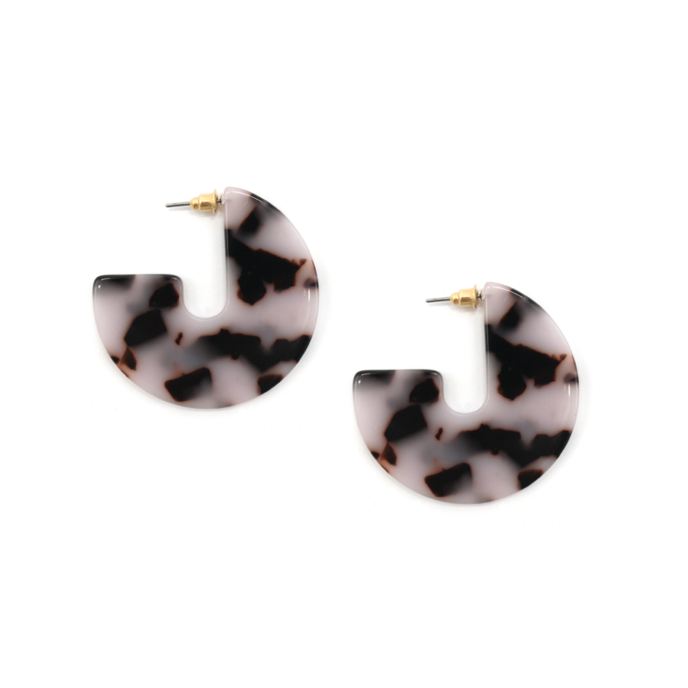 Fun Times Earrings Resin Disc Tortoiseshell