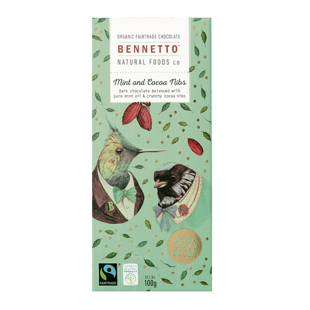 Bennetto Chocolate Mint and Nibs 100g