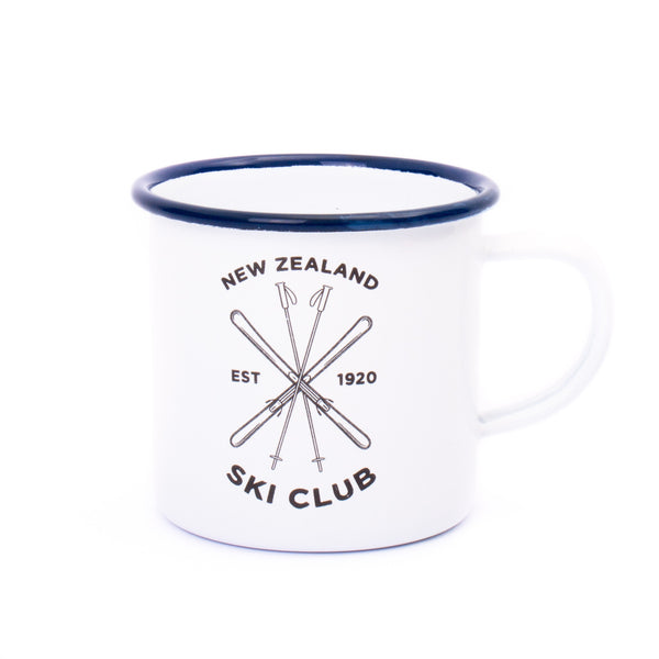 Moana Road New Zealand Ski Club Enamel Mug White