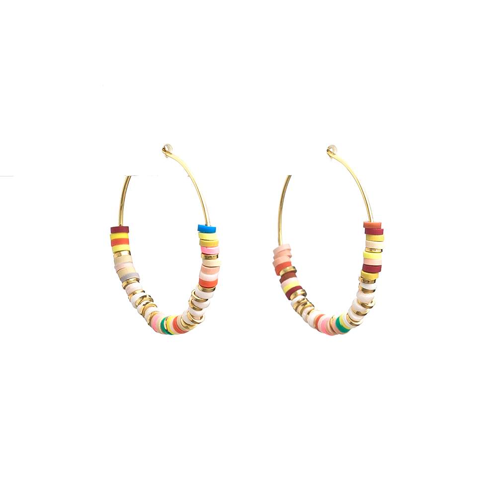 Stella + Gemma Earrings Hoop Colourfull Clay Gold