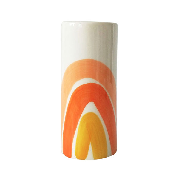 Skyla Rainbow Vase Orange White Small
