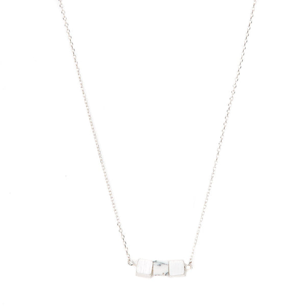 Stella + Gemma Necklace Three Cubes White Jade Silver