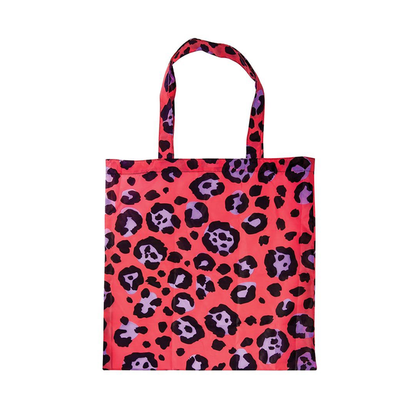 Foldable Shopper Tote Bag Leopard Red