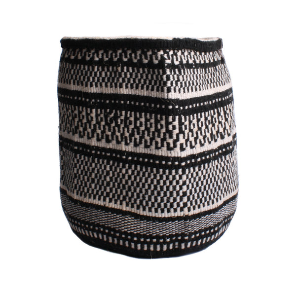 Maka Emali Hand Woven Basket B&W Check Stripe Design 2