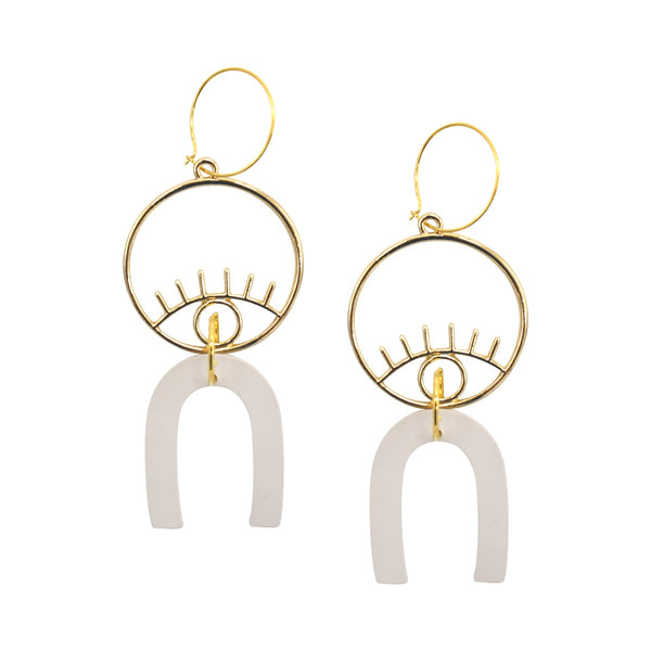 Penny Foggo Earrings Large Eye Sand