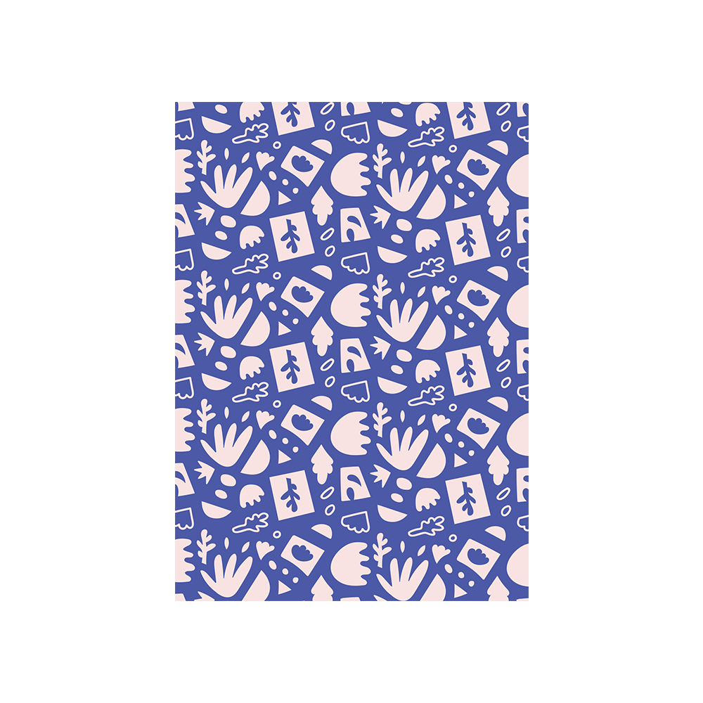 Iko Iko Abstract Card Leaf Dark Blue Pink