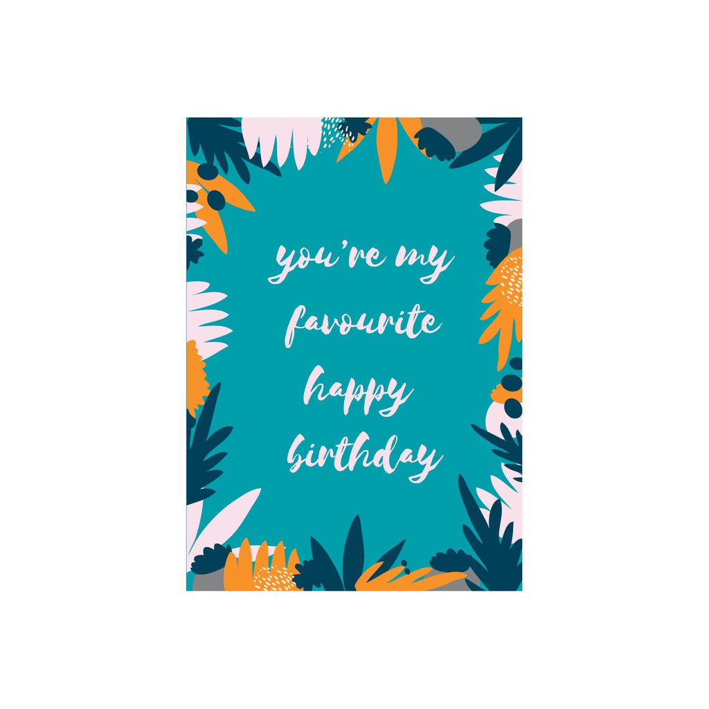 Iko Iko Floral Message Card Favourite Birthday