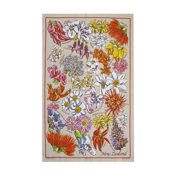 Natural Flax Tea Towel Native Flowers