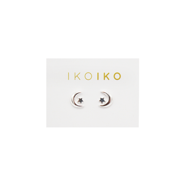 Iko Iko Studs Moon and Star Silver