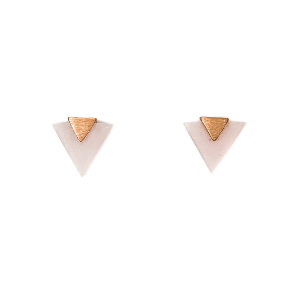 Stella + Gemma Studs Triangle Rose Quartz Rose Gold