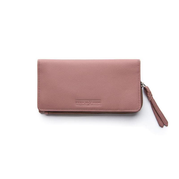 Stitch & Hide Leather Slimline Wallet Penni Dusty Rose