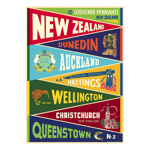 Cavallini Poster NZ Pennant Flags