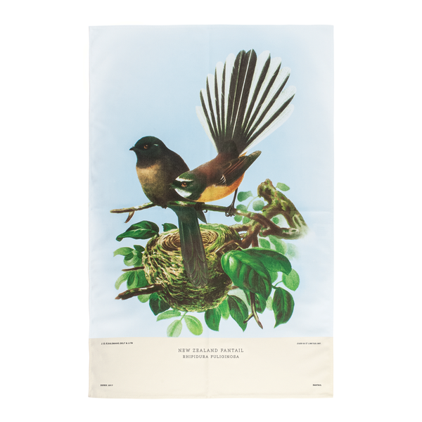 New Zealand Retro Tea Towel Fantail
