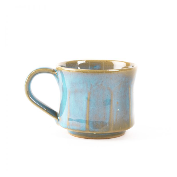 Paneled Stoneware Cup Turquoise