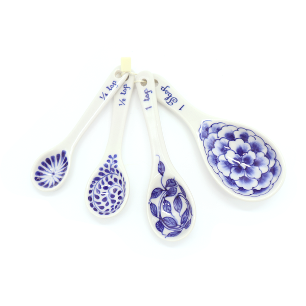 Ceramic Flora Measuring Spoons Blue and White