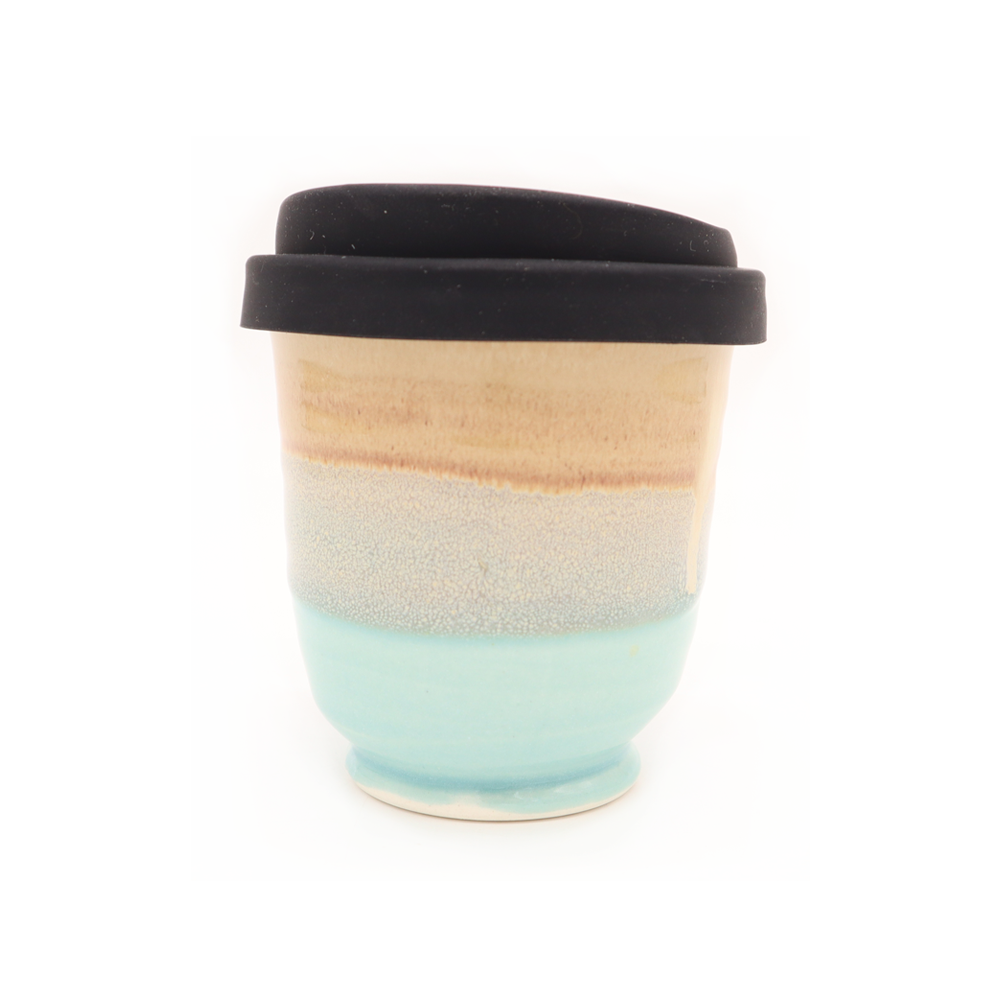 Westcoast Stoneware 8oz Reusable Cup Shelly Beach Beige and Turquoise