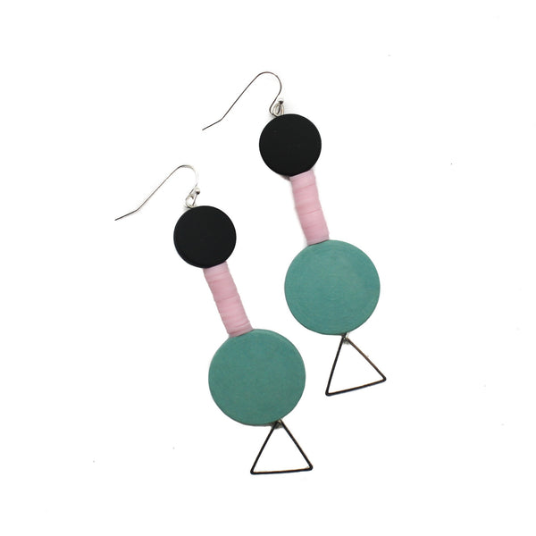 Penny Foggo Earrings Geometric Pink Teal Silver