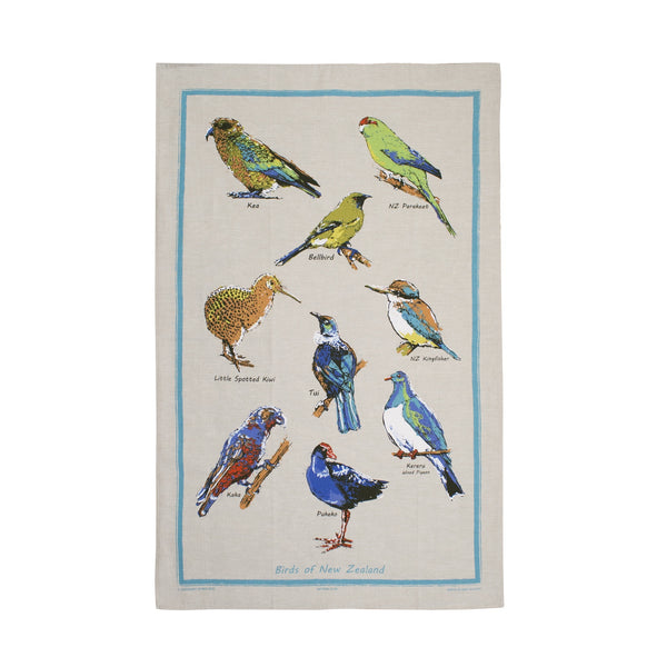Natural Flax Tea Towel Birds of New Zealand