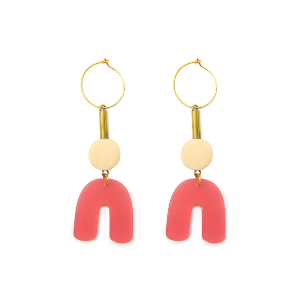Penny Foggo Earrings Perspex U Shapes Pink