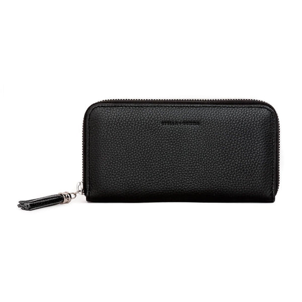 Stella + Gemma Leather Wallet with Tassel Black