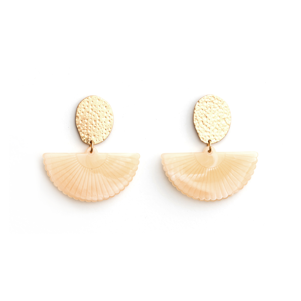 Stella + Gemma Earrings Gold with Fan Milk
