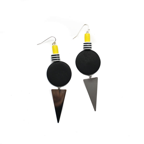 Penny Foggo Earrings Geometric Yellow Black Silver