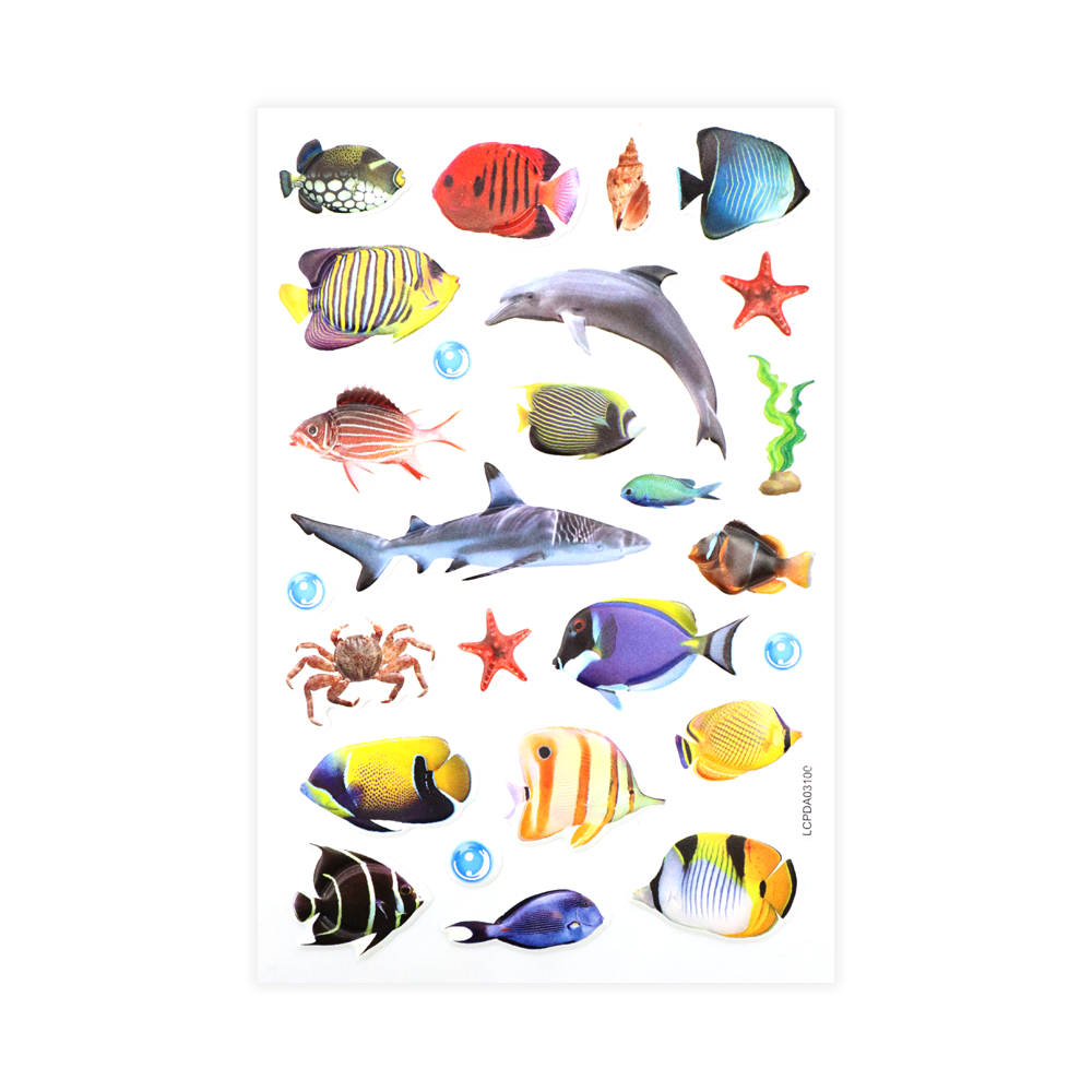 Exotic Fish Puff Stickers