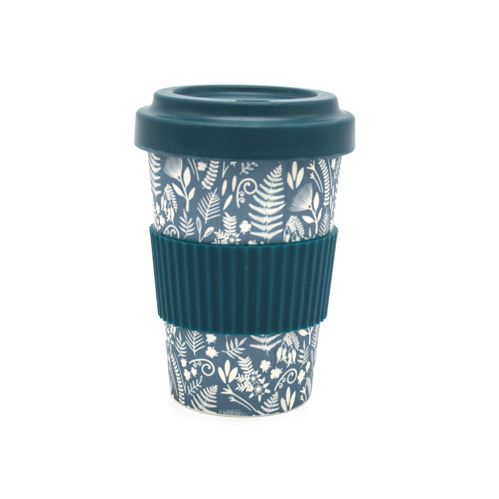 NZ Reusable Bamboo Coffee Cup Blue with White Flora