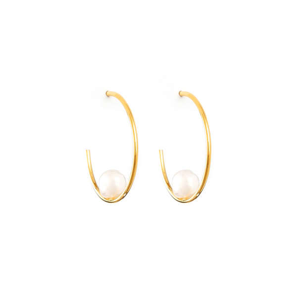 Stella + Gemma Earrings Amore Hoop Pearl Gold