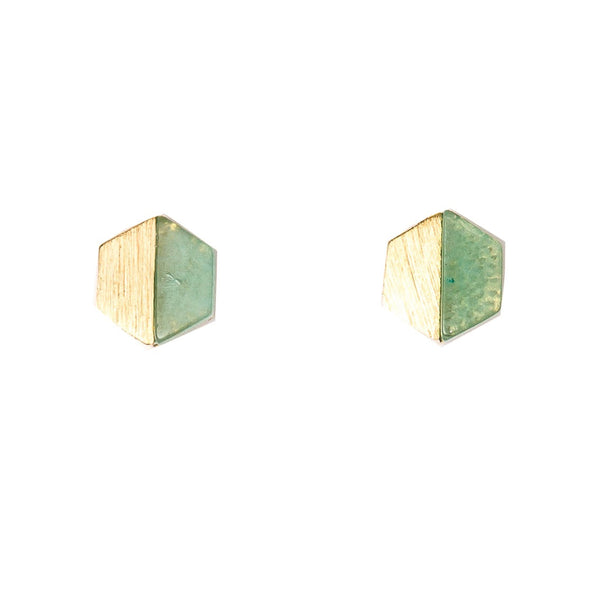 Stella + Gemma Earrings Hexagon Crystolite Gold