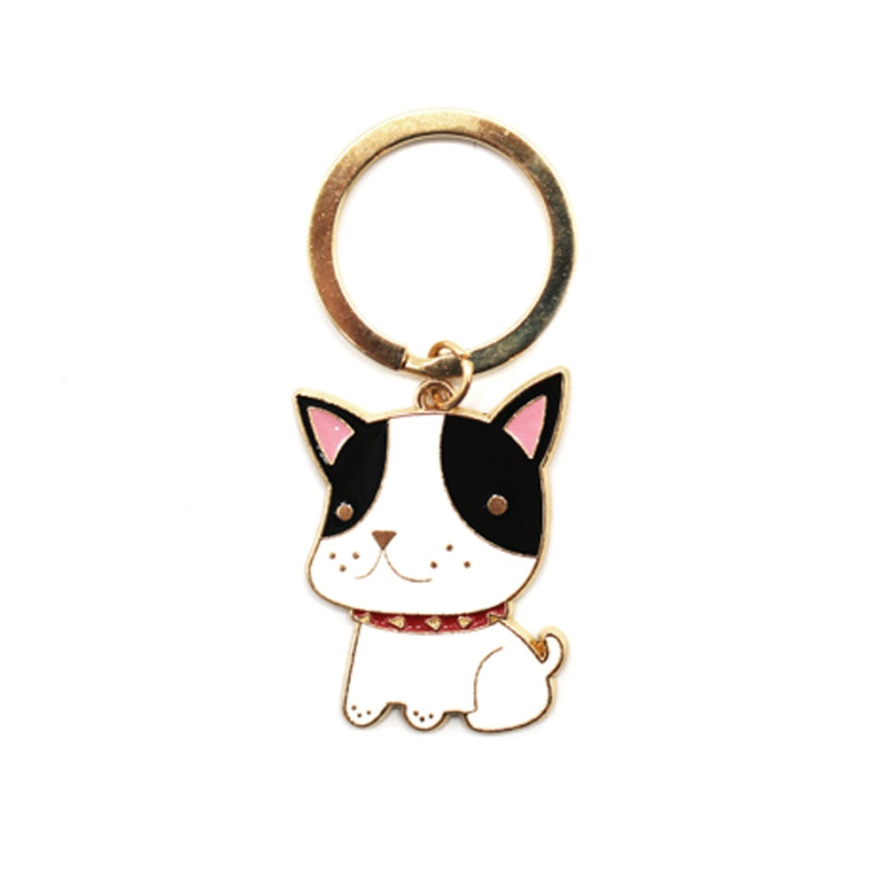 Enamel Keyring Dog Boston Terrier