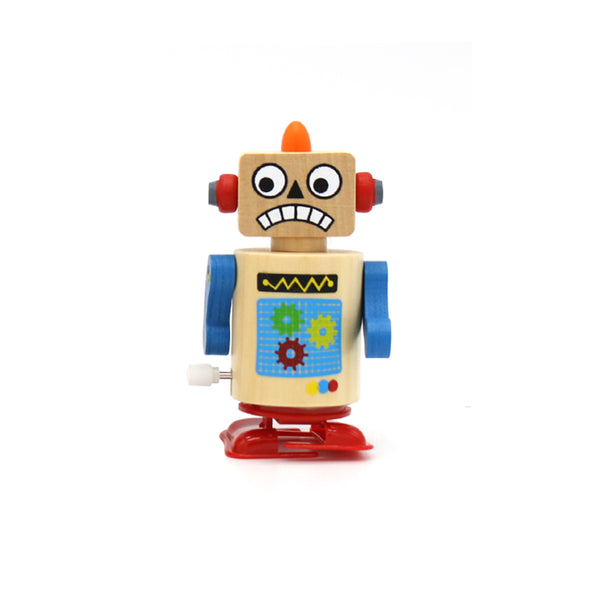 Wooden Windup Clockwork Robot Assorted
