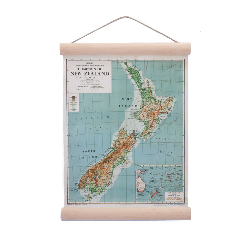New Zealand Retro Mini Wall Chart NZ Dominion Map Small