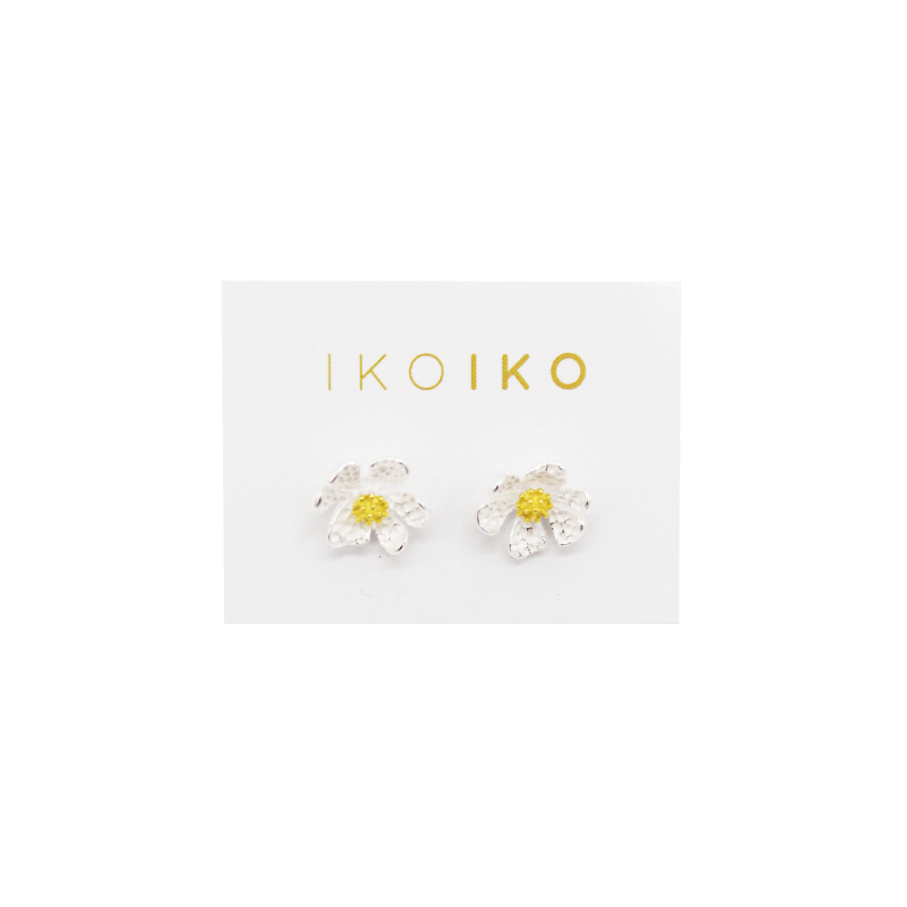 Iko Iko Studs Uneven Daisy Gold on Silver
