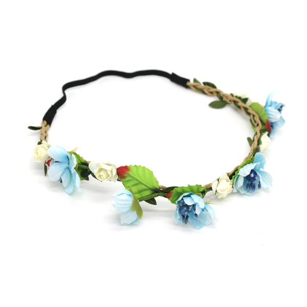 Flower Crown Headband Blue