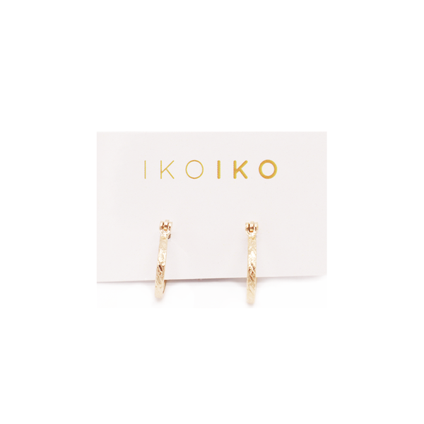 Iko Iko Earrings Mini Hammered Hoop with Clasp Gold