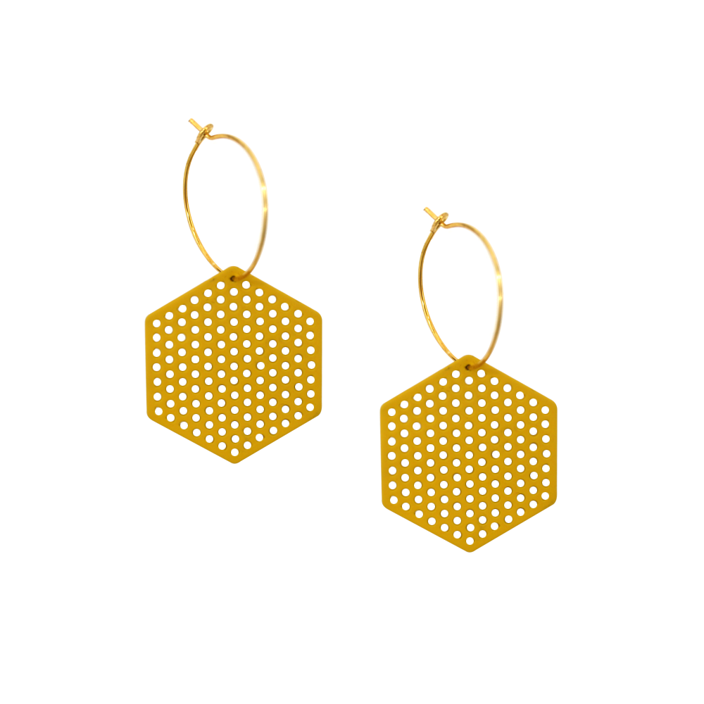 Penny Foggo Earrings Hexagons Yellow