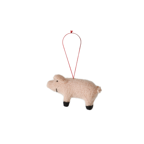 Citta Handmade Woollen Pig Hanging Decoration