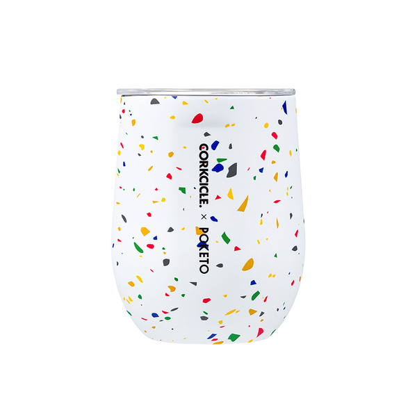 Corkcicle x Poketo Stemless 12oz 355ml White Terrazzo