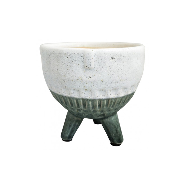 Round Face Planter on Legs Green Medium