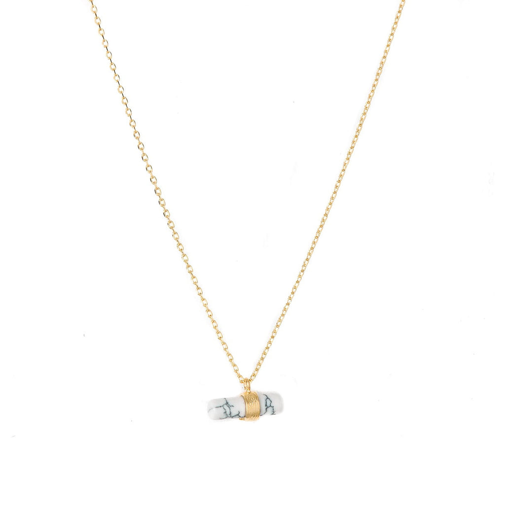 Stella + Gemma Necklace Bar Howlite Gold