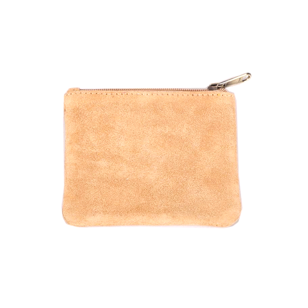 Suede Leather Coin Purse Brown