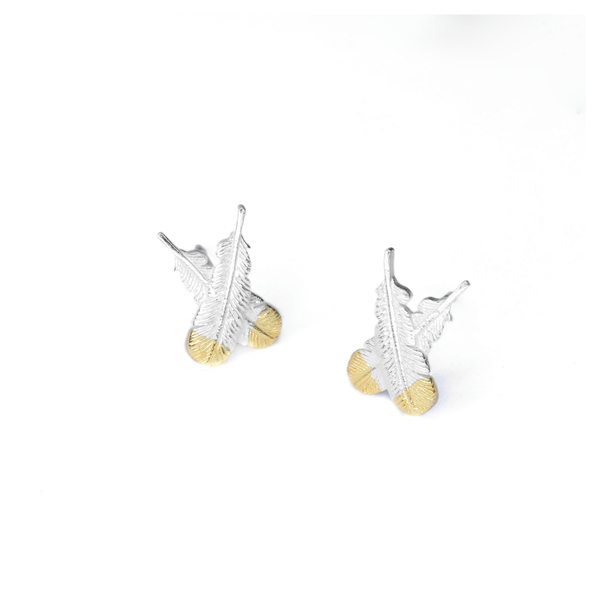 Little Taonga Studs Huia Feather Silver with Gold