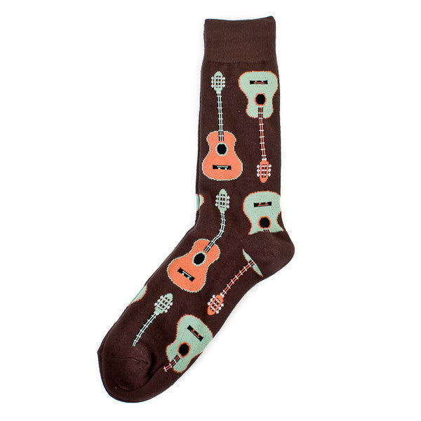 Socksmith Socks Mens Guitars Brown