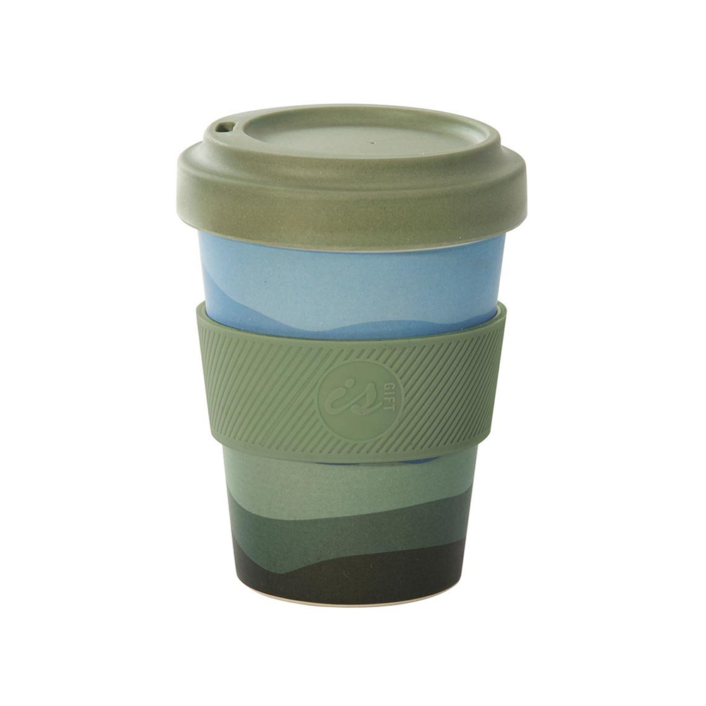 eCup Bamboo Abstract Tones Green Lid
